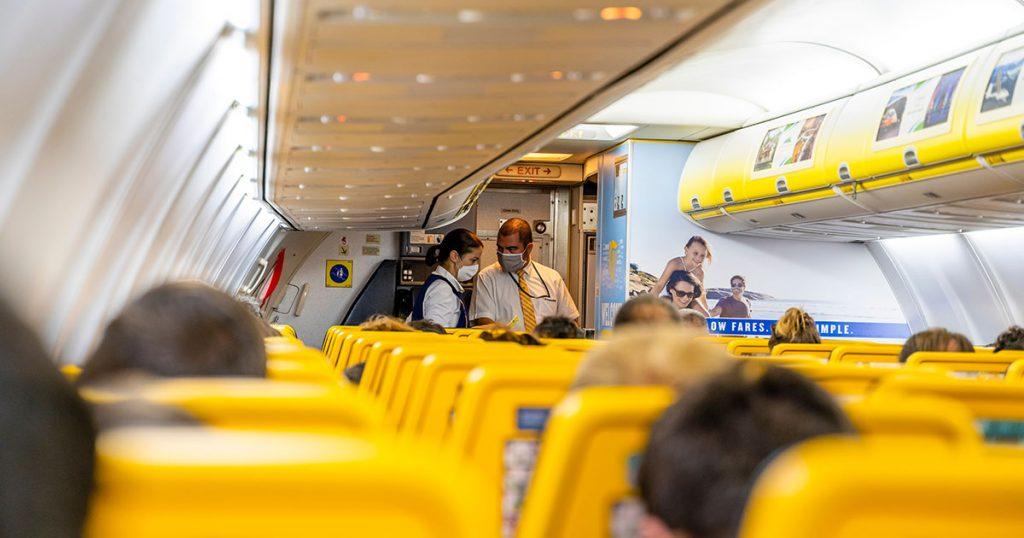 Imagen del interior de un avión durante la pandemia.